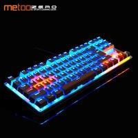 Metoo Mechanical Keyboard 87/104 Anti ghosting Luminous Blue Black Switch Backlit wired Gaming Keyboard Russian/English/Spainsh