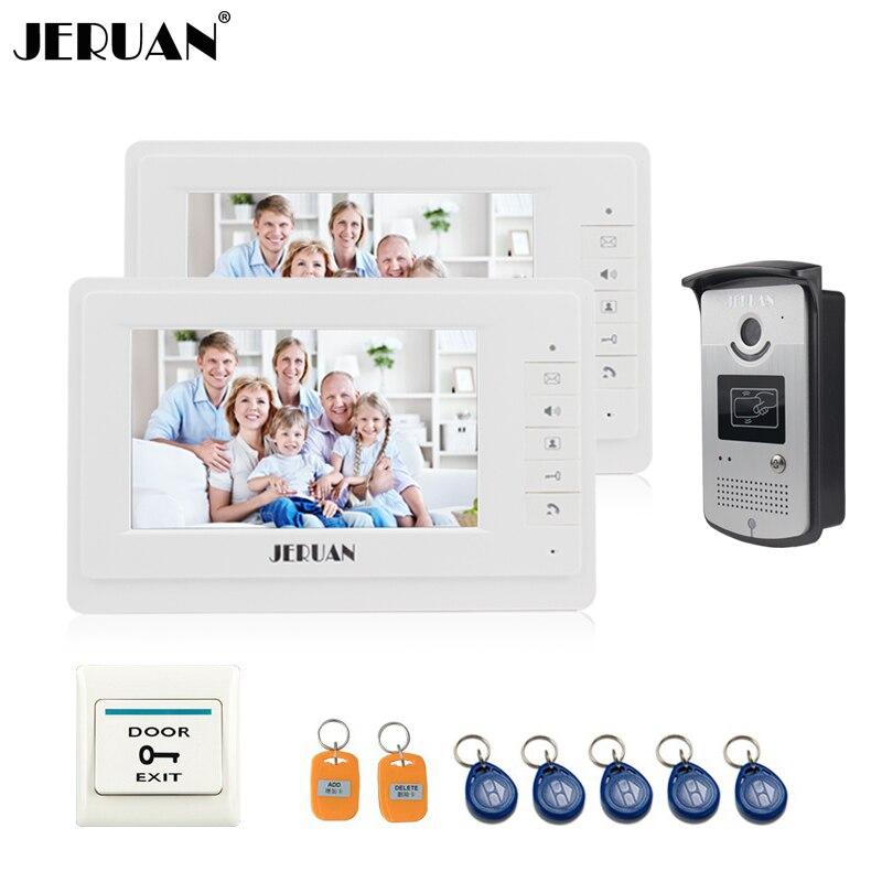 JERUAN 7 inch video door phone intercom system 2 montiors 1 camera doorbell hands-free speaker intercom home security system