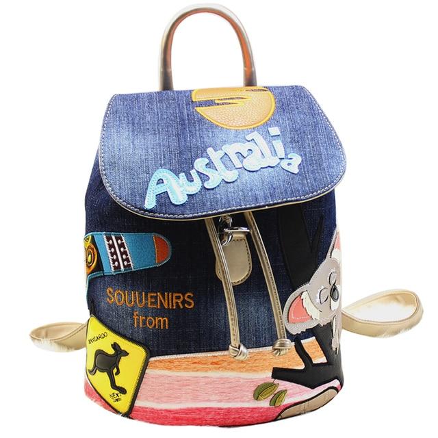 Braccialini Brand Style Handicraft Design Cartoon Australia Koala Kan Sj Women Backpack Preppy Schoolbag Travel