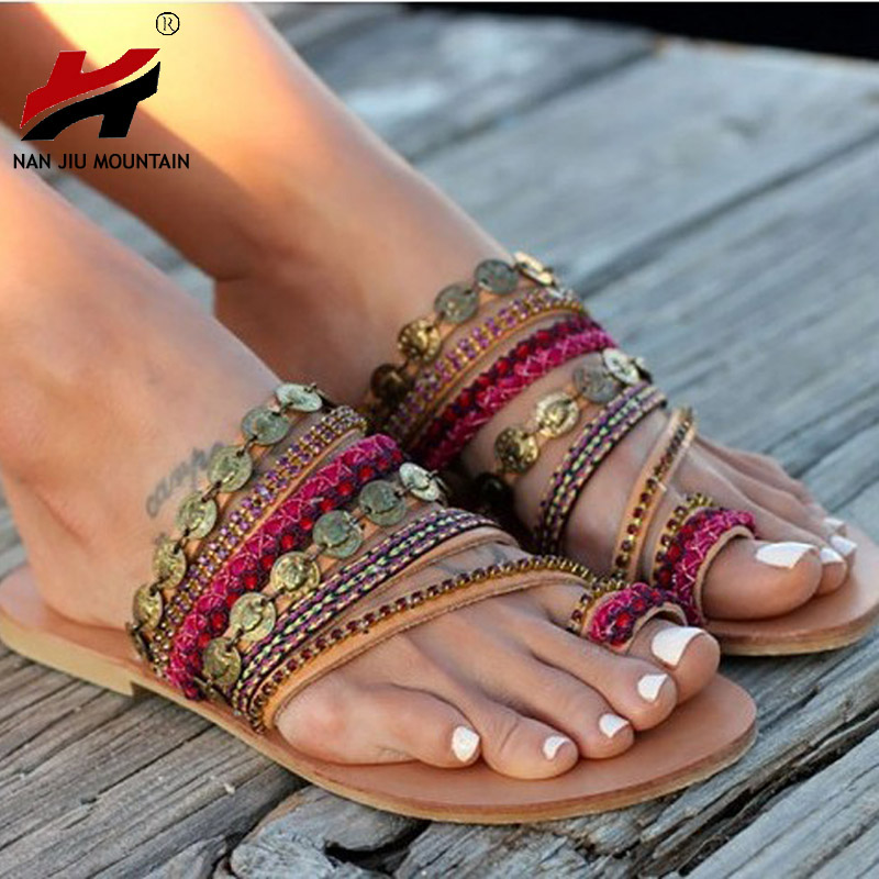 NAN JIU MOUNTAIN Shoes Woman Handmade Bohemian Wind Flat Sandals Women s  Shoes Plus Size 34-43 2362f580a208