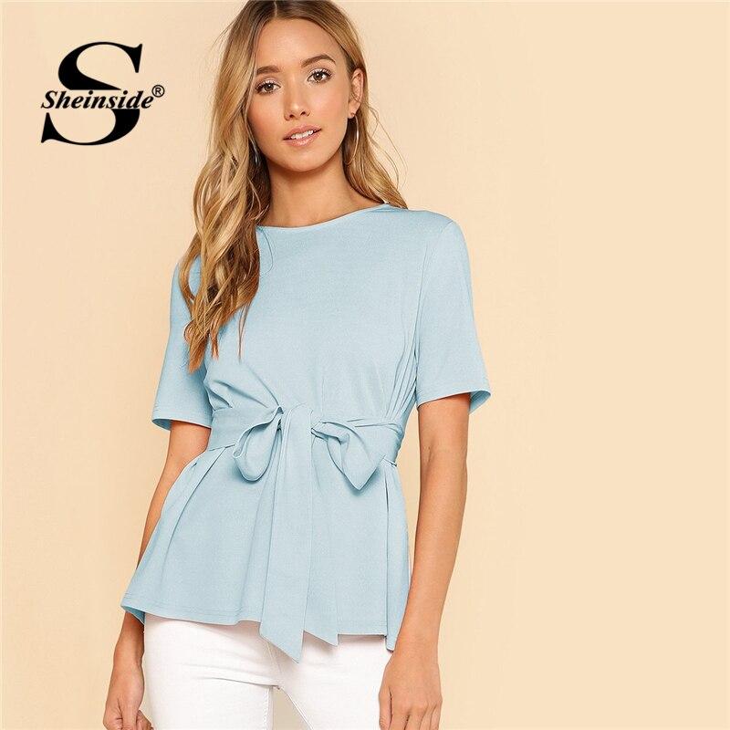 Sheinside Self Belt Keyhole Back Shirt Short Sleeve Plain Womens Tops and Blouses Summer Ladies Workwear Elegant Blouse