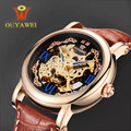 OUYAWEI Mens Automatic Skeleton Mechanical Wristwatches Brand Luxury Sports Watch Fashion Casual Leather watch Relogio Masculino