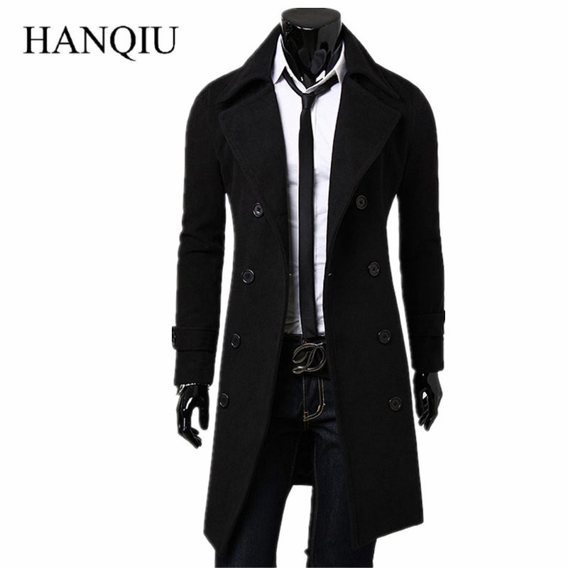 Mens Trench Coat 2018 New Fashion Designer Men Long Coat Autumn Winter Double breasted Windproof Slim Trench Coat Men Plus Size
