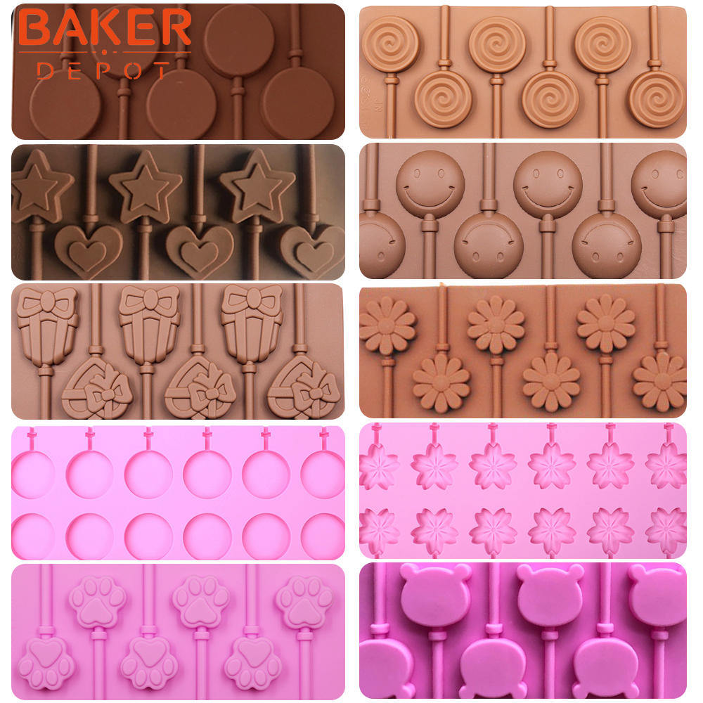 <font><b>BAKER</b></font> <font><b>DEPOT</b></font> Silicone lollipop mold candy chocolate molds round cake decorating form bake bakeware tool bear lolipops cake molds image