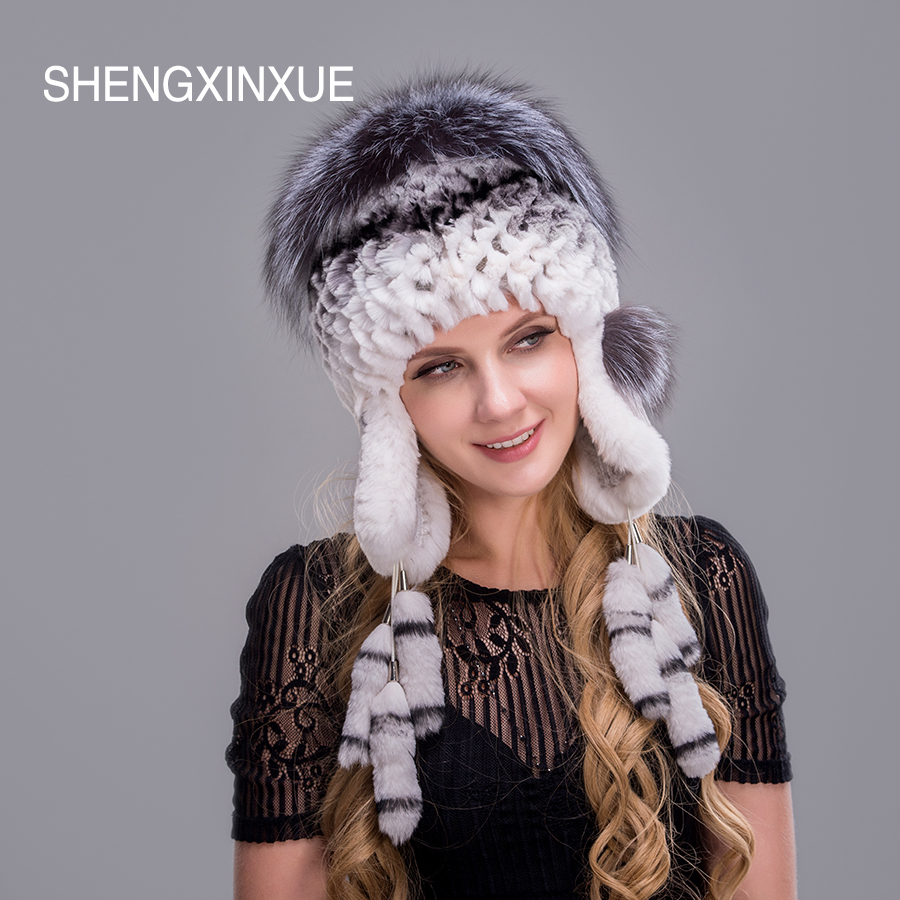 SHENGXINXUE Women 39 s Fur Hats Natural Real Rabbit Fox Fur Caps Winter Warm hats for girl in Women 39 s Skullies amp Beanies from Apparel Accessories