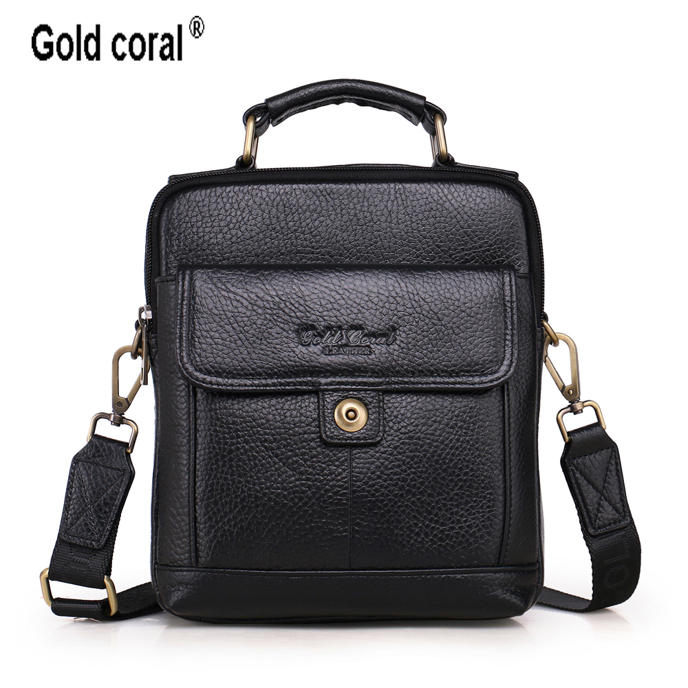 GOLD CORAL Genuine Leather Men's Handbags Casual Travel Men Shoulder Bags For Man High Quality Messenger Bag Male Crossbody Bag jason tutu promotions men shoulder bags leisure travel black small bag crossbody messenger bag men leather high quality b206