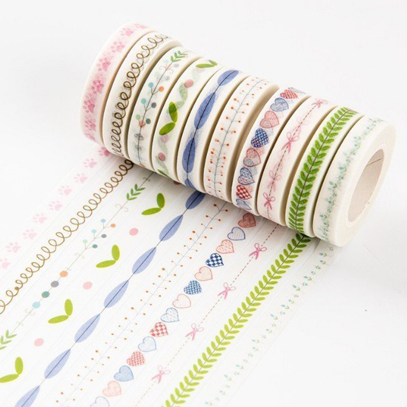 1pcs 10m*7mm Love And Leaves Scrapebooking Diy Sticker Decorative Masking Tape Paper Material Escolar Photo Album Washi Tape 4pcs lot the renaissance of literature and art series diary album diy ornament decorative paper tape masking tape washi tape
