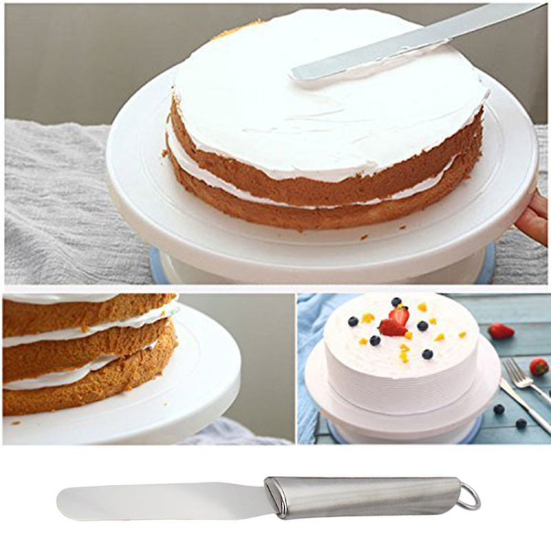 Unibird 10 inch Anti-skid Round Cake Turntable+3Pcs Icing Spatulas Cream Smoother Rotating Cake Table Stand Decorating Tool