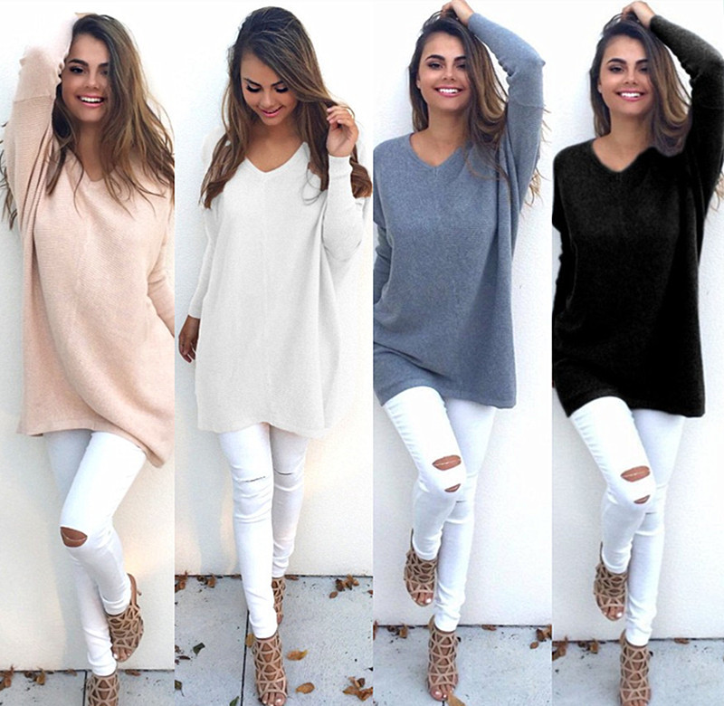 2018 Autumn Winter Sweater Women Round Neck Pullover Knit Sweater Large Size Loose Long Sleeves Women Tops Bottom Shirt Sweater