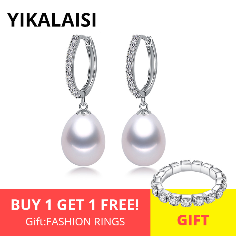 YIKALAISI 925 Sterling Silver Natural Freshwater Pearl Jewelry For Office Women 8-9mm Drop Earrings White Pink Purple Black