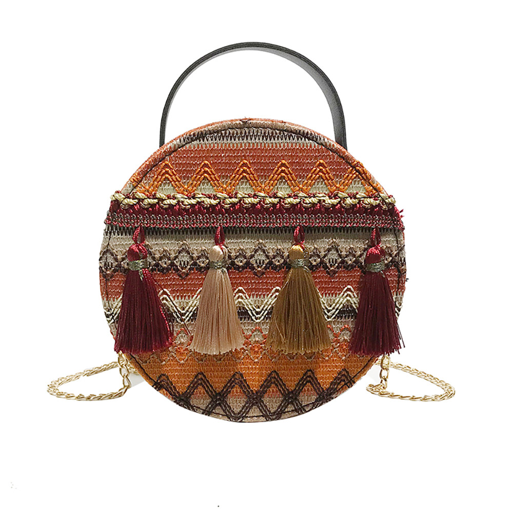 Women Tassel Chain Small Bags national wind round bag packet Lady Fashion Round Shoulder Bag Bolsos Mujer#A02 80