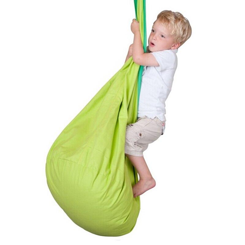 Nouvelle chaise de balançoire pour enfants hamac pour bébé en plein air loisirs hamac intérieur sac en tissu balançoire avec coussin gonflable