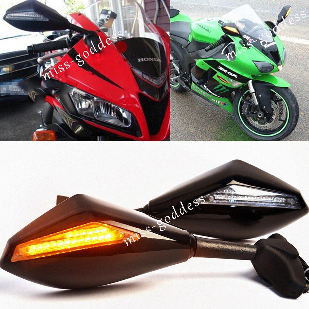 MOTO LED CLIGNOTANTS ARRIÈRE VUE Porte Mont Sport Vélo Side Racing MIROIRS Pour CBR ZRX ZZR ZX YZF GSXR GSX R6 R6S