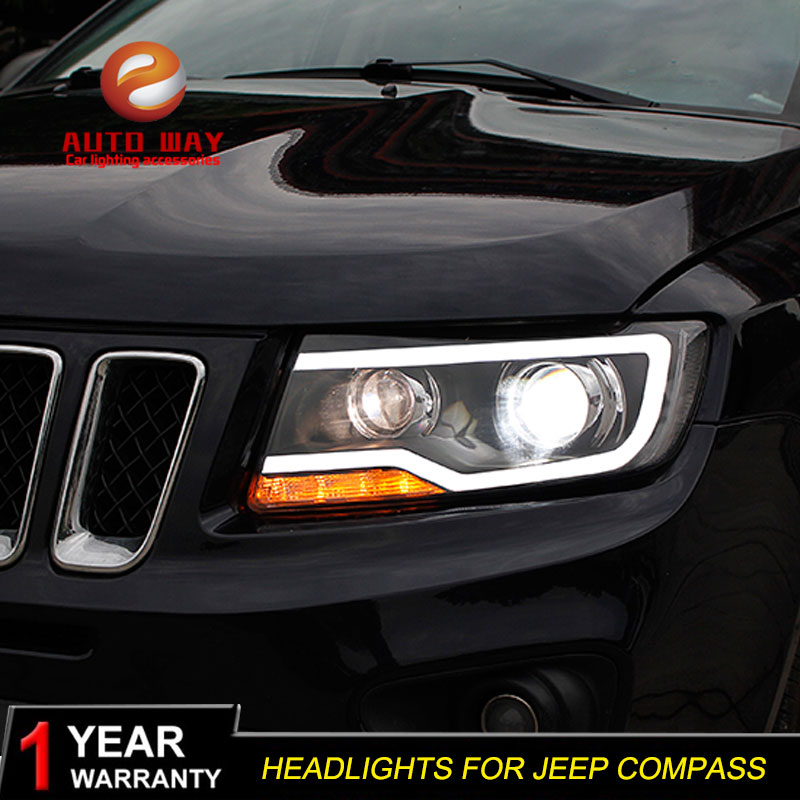 Car Styling Head Lamp case for Jeep Compass 2011-2017 Jeep Compass LED Headlight DRL Lens Double Beam Bi-Xenon HID hireno headlamp for 2016 hyundai elantra headlight assembly led drl angel lens double beam hid xenon 2pcs