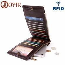 JOYIR Large Capacity 20 Slots Card Holders Genuine Leather Wallet Clutch Bag Fashion Male Long Purse Multi-function Phone