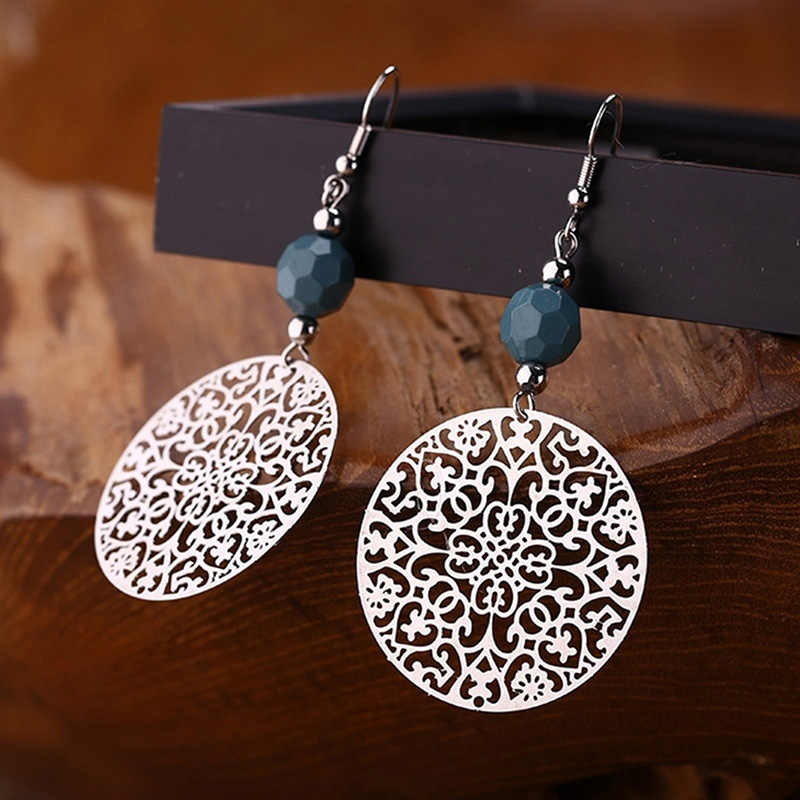 Simple Bohemian Style Gold Silver Round Shell Pendant Earrings For Woman Jewelry Gift Vintage Ethnic Gypsy Boho Earrings