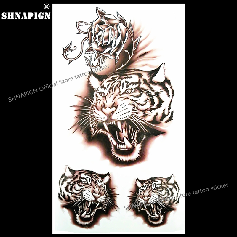 c5f891a9e SHNAPIGN Rage Tiger Growl Temporary Tattoo Body Art Arm Flash Tattoo  Stickers 17*10cm Waterproof Fake Henna Painless Sticker-in Temporary Tattoos  from ...