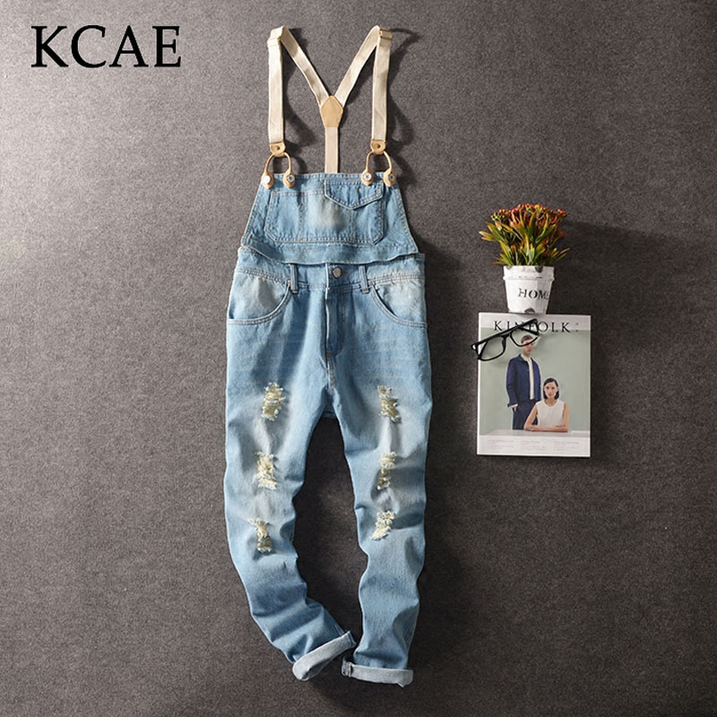 ФОТО 2016New Fashion Mens Bib Overalls Length Stylish Ripped Denim Overalls Men Distressed Jeans Jumpsuits For Men Bib Jeans Pants