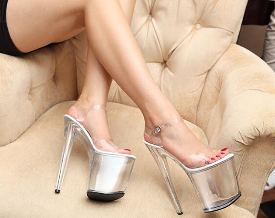 I hate sky-high heels, 20cm high sexy club transparent crystal shoes, waterproof platform and sandals model shoes