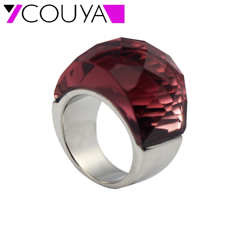 COUYA Luxury Cocktail Ring Glass Gem Stone Rings Fire Mystic Big Ring for Women Silver Vintage Fashion Jewelry ...