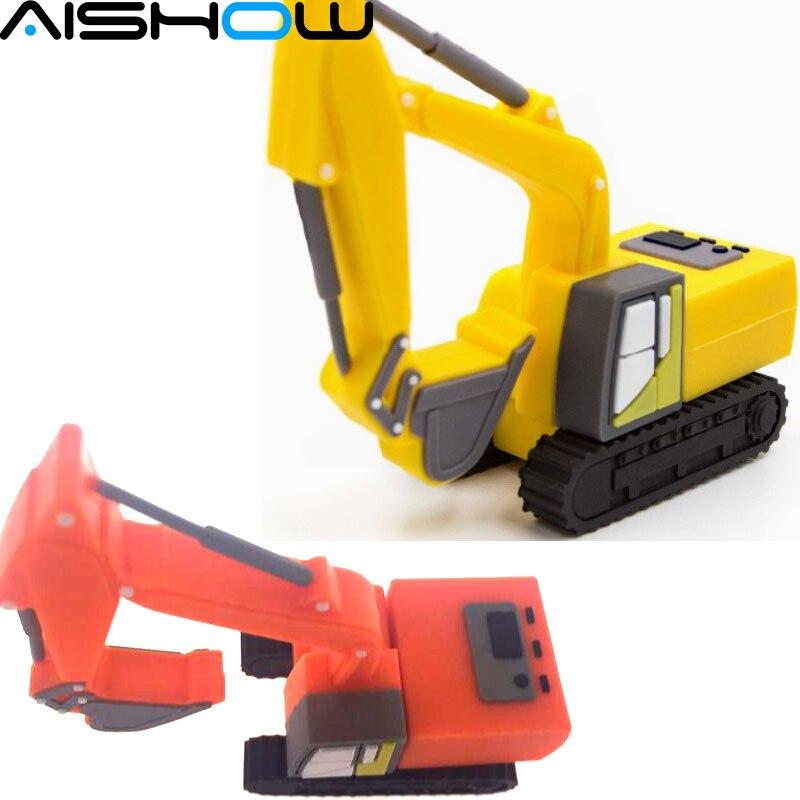 usb flash disk 4gb 8gb 16gb 32gb Excavators truck cartoon usb flash drive 64gb usb memory pen driver gifts gadget free shipping