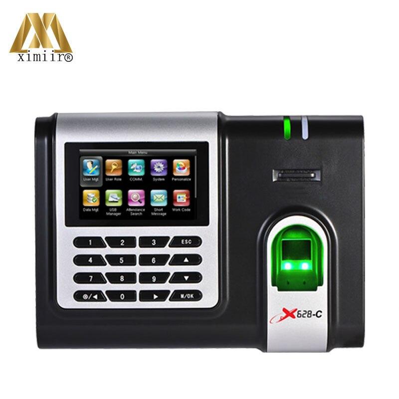 Free Software Time Clock Color Screen Employee Attendance Device 3000 Fingerprint Capacity X628-C Biometric Fingerprint Reader