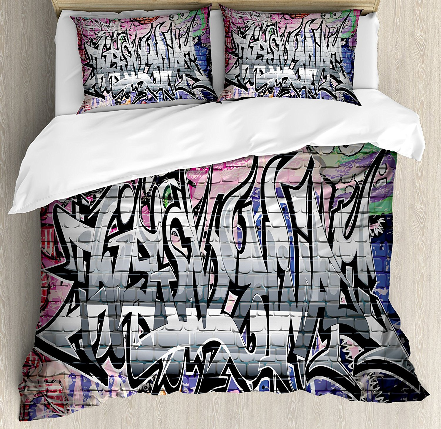 Rustic Home Decor Duvet Cover Set Graffiti Grunge Art Wall Several Creepy Underground City Landscape Print 4 Piece Bedding In Sets From