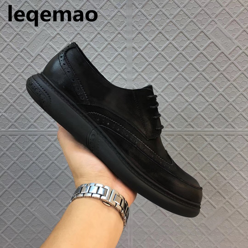 Hot Sale New Arrival Spring Autumn Luxury Brand Men Casual Shoes Oxford Genuine Leather High Quality Lace-up Man Shoes Flats 44 hot sale italian style men s flats shoes luxury brand business dress crocodile embossed genuine leather wedding oxford shoes