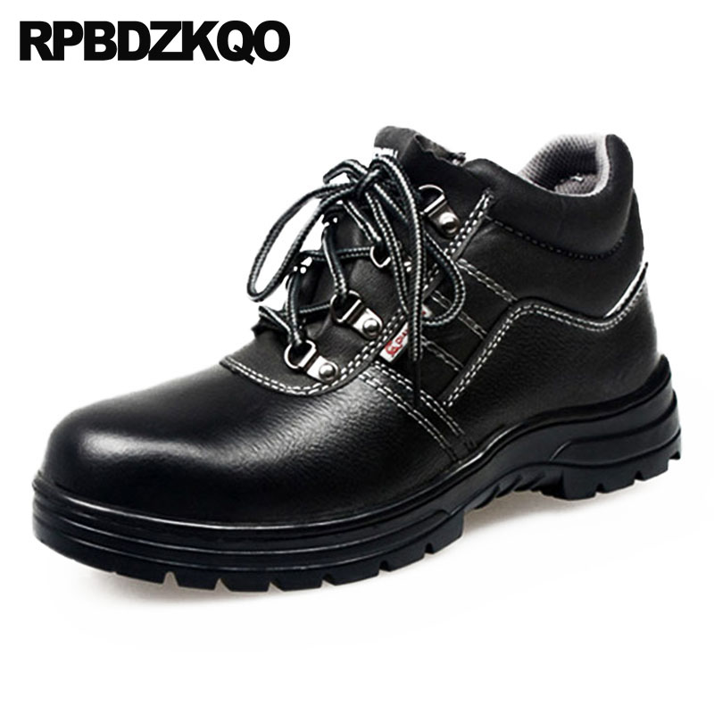 Black Work Steel Toe Shoes Men Casual Ankle Thick Soled High Sole Plus Size Working Safety Booties Boots British Style Platform men black high tops steel toe cap working safety welding shoes womens outdoors soft leather ankle boots spring autumn plate sole