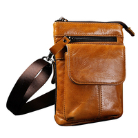 Hot Fashion Men Leather Travel Messenger Shoulder Hip Bum Belt Fanny Pack Waist Bag Yellow Brown