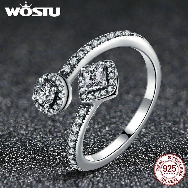 WOSTU Authentic 925 Sterling Silver Astratta Eleganza Anello di Barretta Per Le Donne S925 Gioielli Da Sposa di Lusso XCH7626