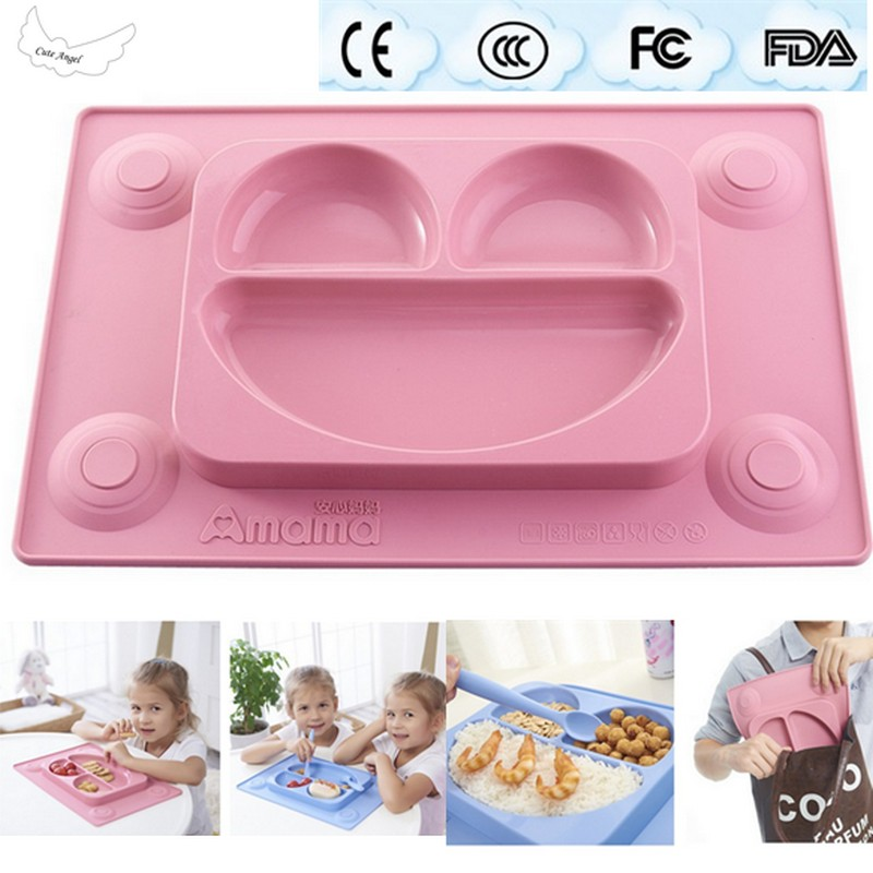 Baby silicone plate for children safe bowl tableware feeding dishes baby placemat plate tray suction patterns