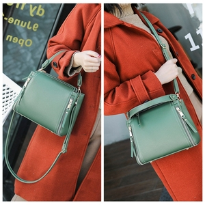 Image 5 - Small Mini Bucket Women Messenger Bags With Long Strap Designer Crossbody Bags Green Shoulder Bags Female Fashion Korean 2018
