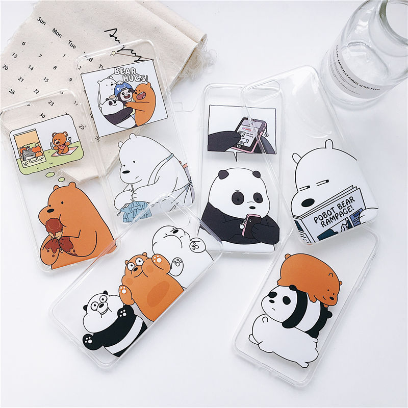 We Bare Bears Mobile Phone Covers Cases For Iphone 6 6s 6Plus 7 8plus 5 5S SE Soft Slim TPU Cute For Iphone X XS MAX Phone Cases
