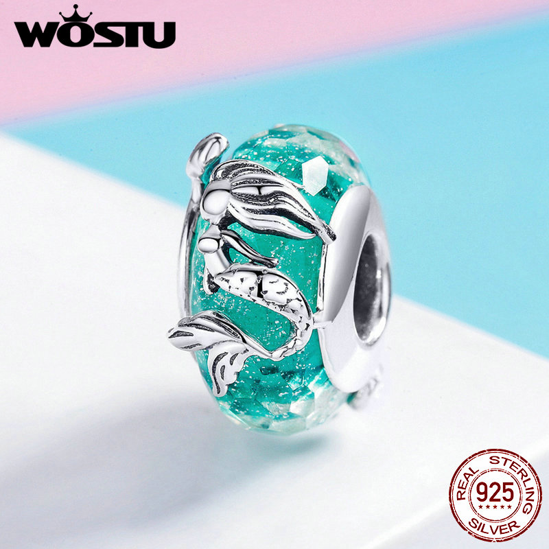 Beads & Jewelry Making Persevering Wostu Mermaid Murano Glass Beads 925 Sterling Silver Green Crystal For Original Bracelet For Women Wedding Diy Jewelry Fic1154 Jewelry & Accessories