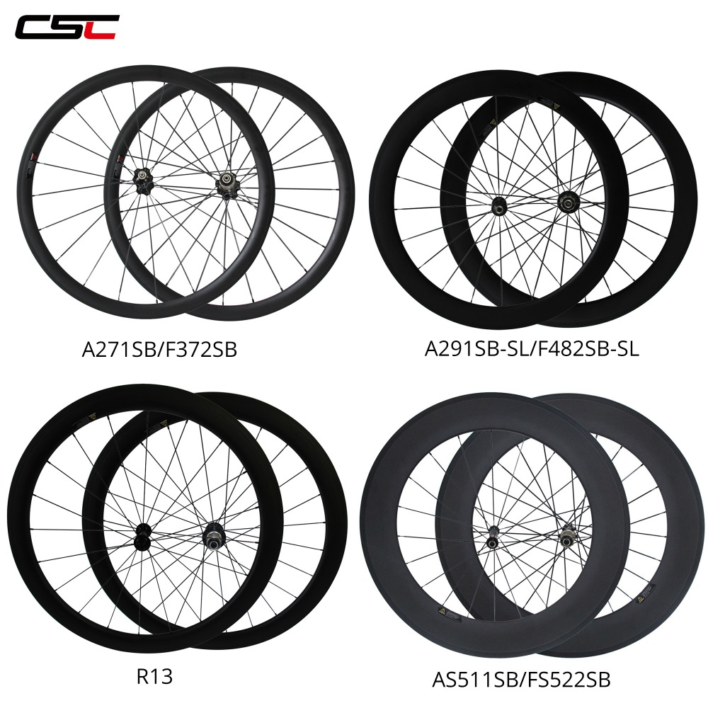 CSC Carbon Wheels 38/50/60/88mm Depth Tubular Or Clincher Chinese Carbon Wheels & Powerway R13 Hub Carbon Road Wheelset �������� 215 60 r13