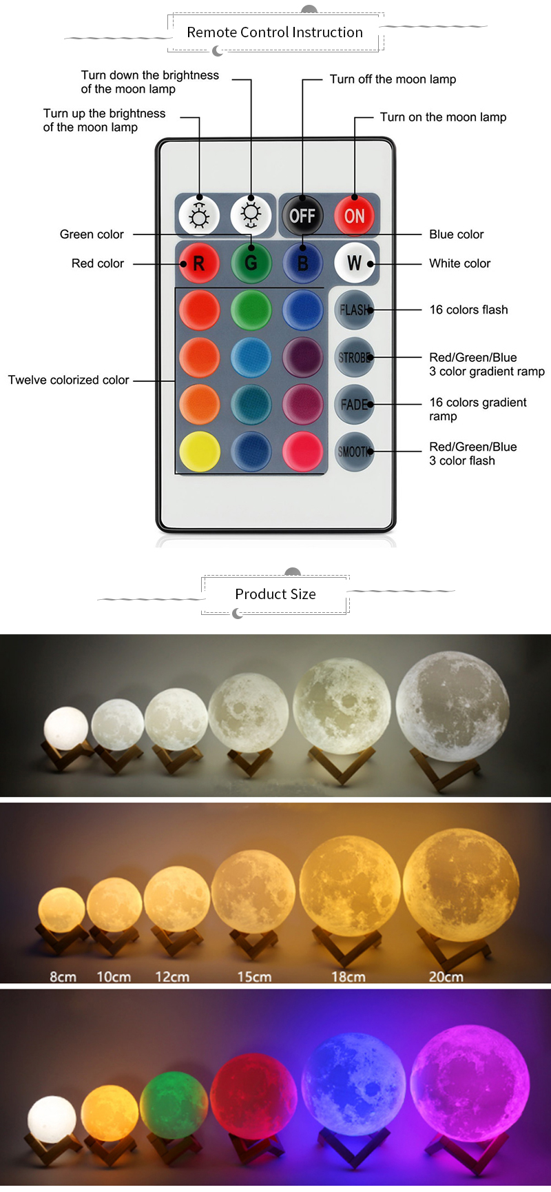 3D Print Moon Lamp Rechargeable Night Light RGB Color Change Touch Switch Bedroom 3D lunar Moon Lamp Home Decor Creative Gift 6