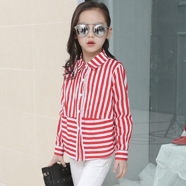 8ef3f8bacea2bd R$ 70.26 |Meninas blusa modelos preto vermelho listrado camisa adolescente  roupas da moda infantil tops camisas uniformes escolares da longo luva ...