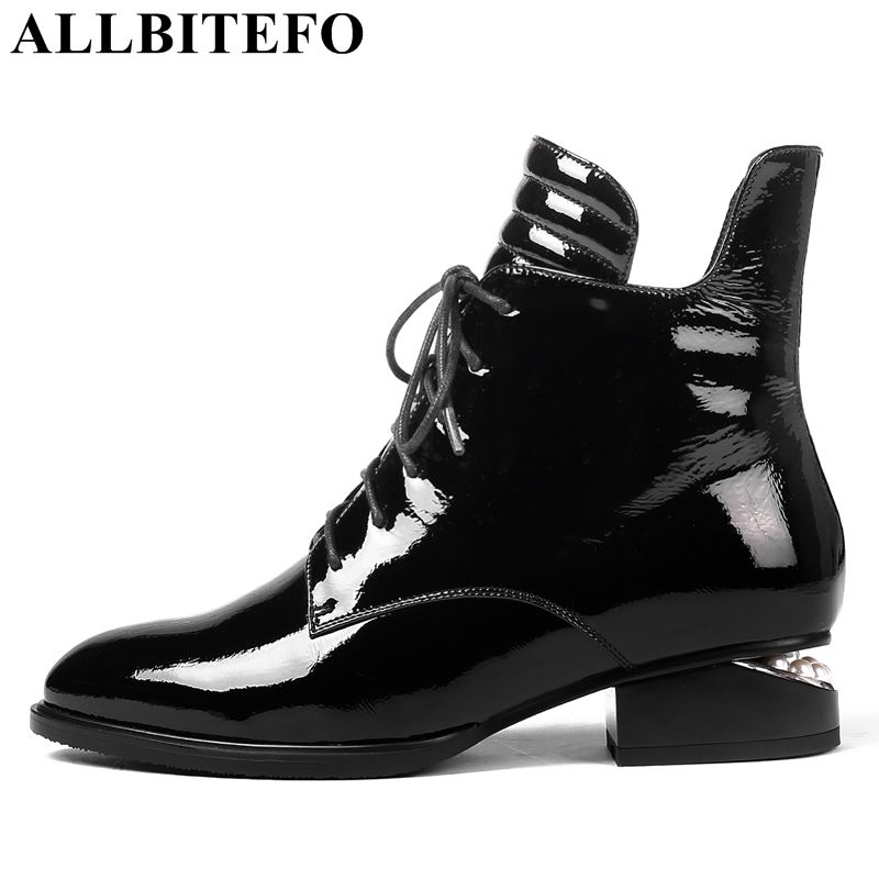 все цены на ALLBITEFO brand genuine leather thick heel women boots fashion high heels ankle boots girls winter motorcycle boots shoes woman онлайн
