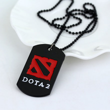 dota 2 beads chain pendants necklaces rectangle fashion black red color new anime game style mens designer kolye jewelry