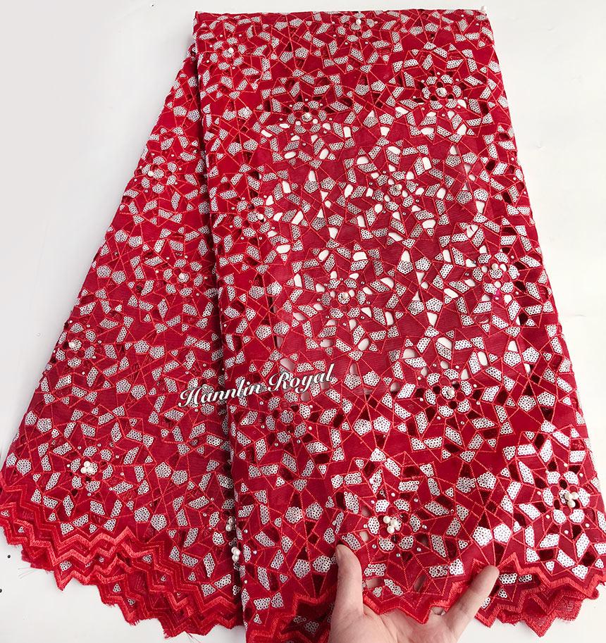 Najwyższej klasy czerwony srebrny nigerii afryki Handcut organza koronki ogród do szycia sukienka tkaniny 5 metrów gorąca sprzedaż w Koronka od Dom i ogród na  Grupa 1