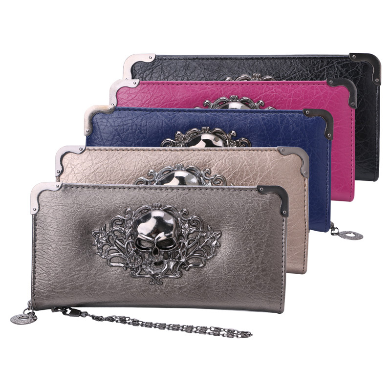 Women Elegant Faux Leather Wallet Metal Skull Pattern Zip Lady Purse Long Handbag Vintage Creative Soft Gift Punk Fashion Style