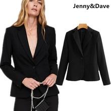 Jenny   Dave blazer femenino chaqueta mujeres Inglaterra simple urbano solo  botón sólido negro blazer mujeres más tamaño tops 20. d850e48c6f175