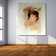 A woman in a hat Figure Painting Classic Canvas Frameless Oil Painting Unframed Spray straw kitchen hologram not handmade