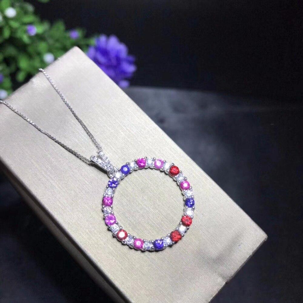 Uloveido femmes bleu saphir multicolore pendentif collier, femmes fin anniversaire 925 bijoux en argent Sterling collier FN322-in Colliers from Bijoux et Accessoires    2
