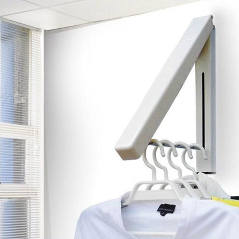 Folding Wall Mounted Retractable Clothes Racks Indoor Balcony Bathroom Rods Hangers Towel Rack
