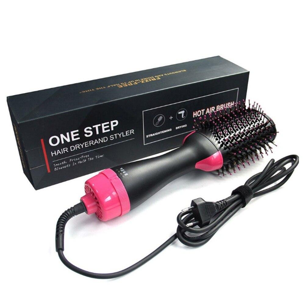Eléctrica Pro secador de pelo peine de infrarrojos de iones negativos de aire caliente peine del pelo recto rizado peine secador de pelo de la nave de la gota