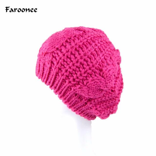 e93788855f52d Faroonee Acrylic Crochet Caps Warm Winter Knitted Crochet Hat Fashion Beanie  Hats For Women Casual Gray Pink Ear Caps S4808