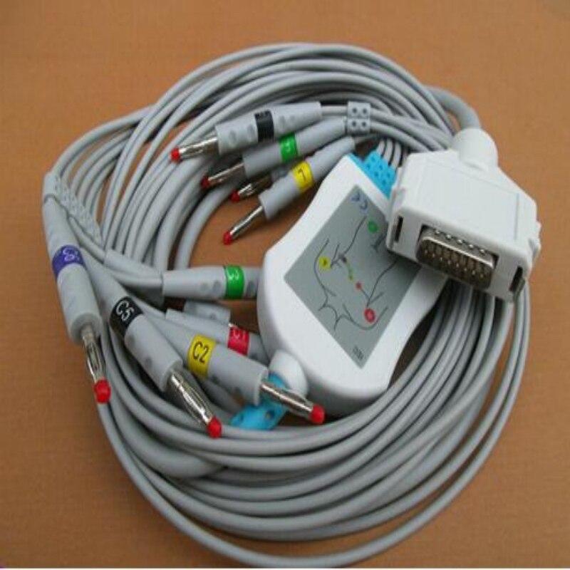 Compatibel Voor Fukuda ECG Kabel Met 10 Leads FCP-7411, FX-7402/FX-2111, FX-2155/3010/7010/7102 EKG Kabel Draden 4.7 K Weerstand