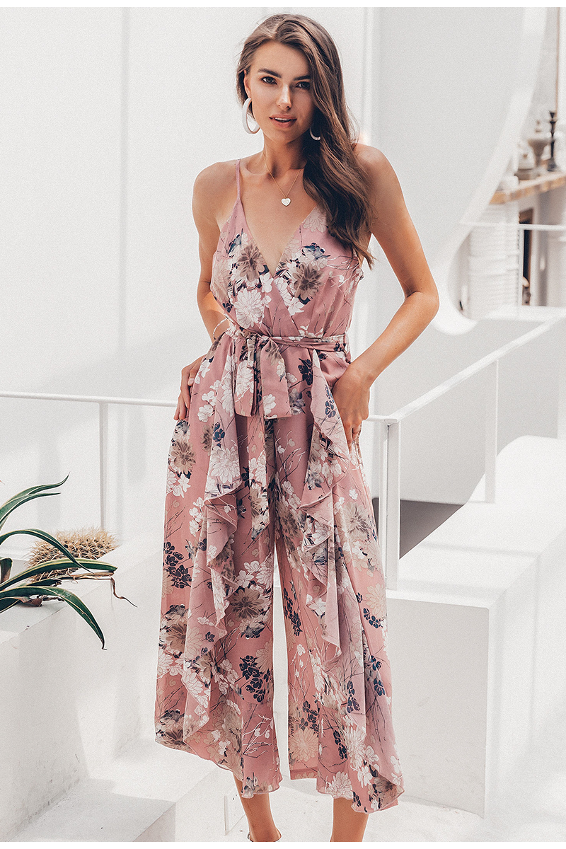Simplee Bohemian floral print women jumpsuit Sexy v-neck spaghetti strap sashes jumpsuit romper Elegant ruffled female overalls 5
